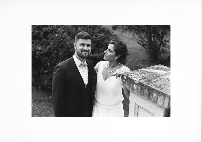 Tirage photo mariés en noir et blanc argentique
