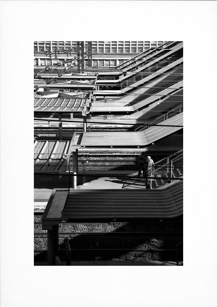 La gare de Lille en noir et blanc argentique